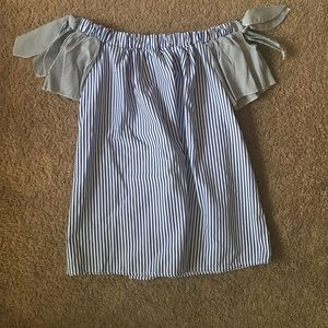 NWT Pinstripe off the shoulder top