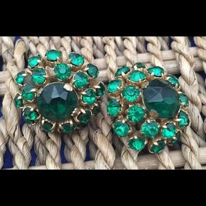Vintage Clip-On Earrings Emerald Stones
