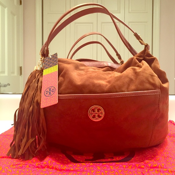 4efb40c9bcc NWT never worn Tory Burch brown suede hobo bag