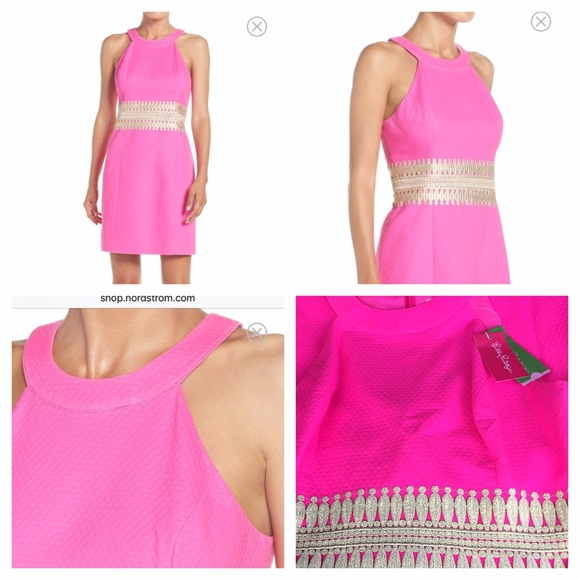 68ce28fb733346 Lilly Pulitzer Dresses | Ashlyn Dress Bright Hot Pink Gold Nwt Lilly ...