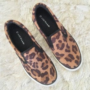 Airwalk Shoes - Airwalk Leopard Faux Fur Print Slip On Sneakers