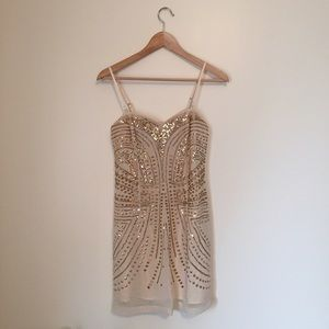H&M Dresses & Skirts - H&M Sequined Nude Formal Mini Dress