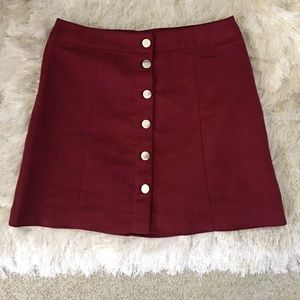H&M Dresses & Skirts - H&M Burgundy Faux Suede Button Front Mini Skirt
