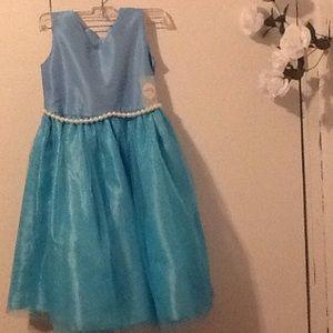 Elle Other - BOUTIQUE Girls Blue Pearl Tulle Dress Ellie Kids