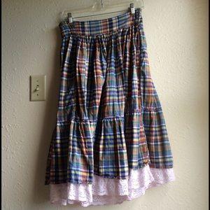 Vintage Plaid Skirt w/ Lace