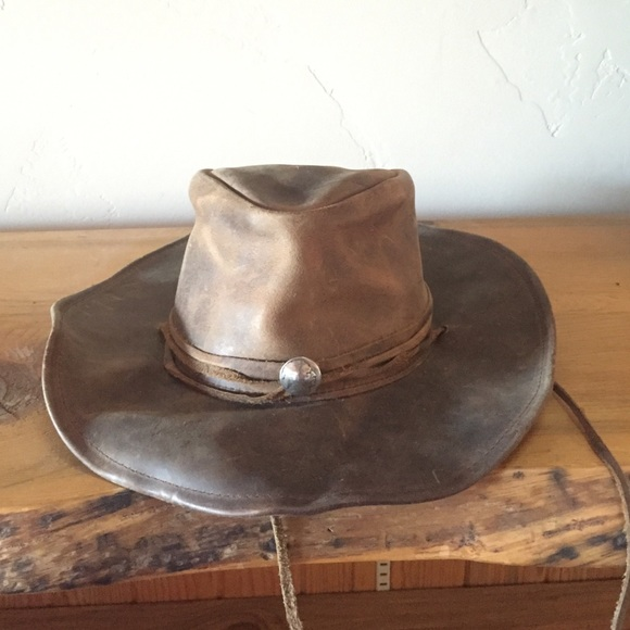 Vintage genuine leather rancher hat. M 57ccbb19f739bc60f50045bf 88dc92712b9