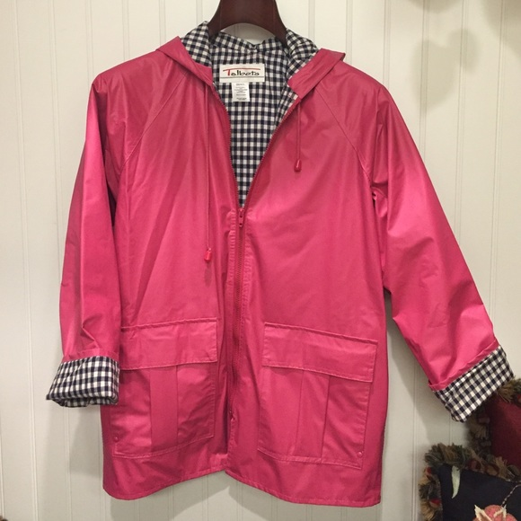 durable modeling best website running shoes TALBOTS HOT PINK RAIN JACKET WITH CHECKERED INSIDE