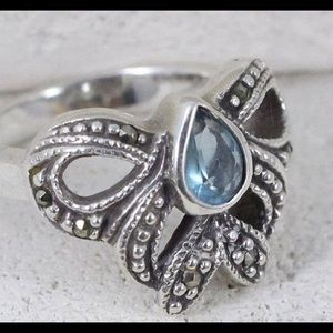 Jewelry - Sterling Silver Blue Topaz Bow Ring