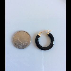 Jewelry - SALE! SALE! Onyx and 14K gold hoops ⚱