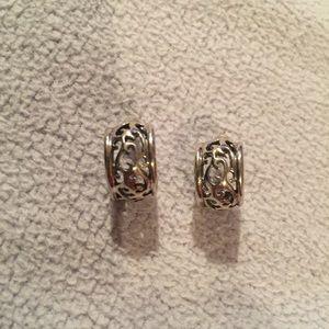 Jewelry - Sterling Silver Scroll J Hoop 4.6g Post Earrings