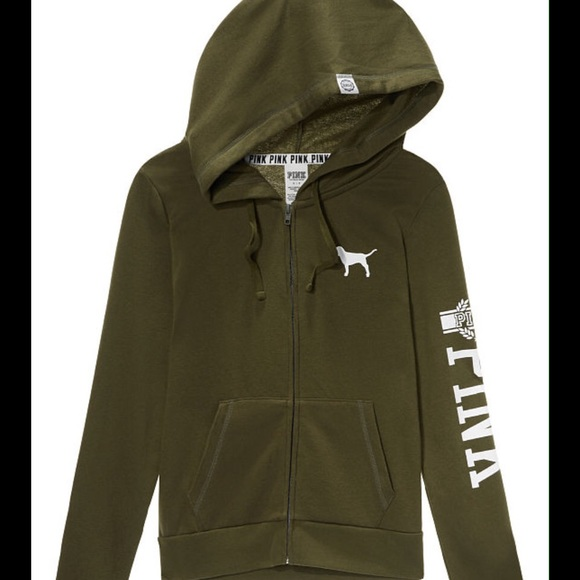 PINK Victoria's Secret - NWT Pink VS Full Zip Hoodie in Olive ...