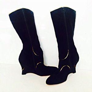 Corso Como Shoes - Corso Como, Black Suede & Gold Leather Wedge Boots