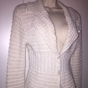 SALE! Off-white cardigan sweater with subtle gold