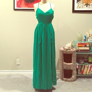 Blaque Label Green Slit Open Back Maxi