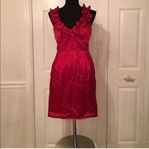 Red BCBG Cocktail Dress with Ruffle Strap