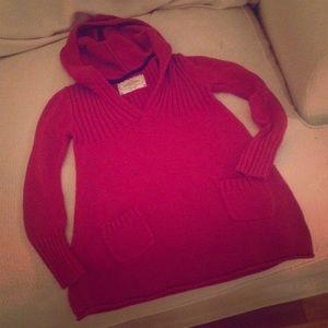 Dark Raspberry Cotton Blend Sweater with Hood