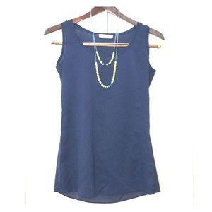 Sheer Navy Blue Top + Beaded Necklace Combo Mambo