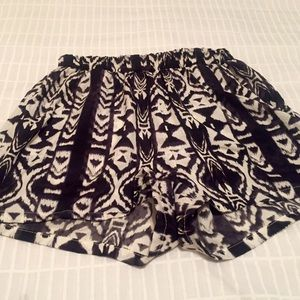 Black and white Aztec shorts