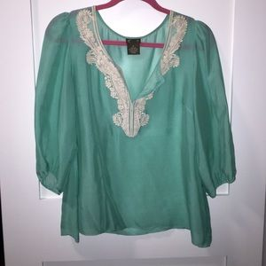 Anthropologie - Silk 3/4 Sleeve Lace Trim Top