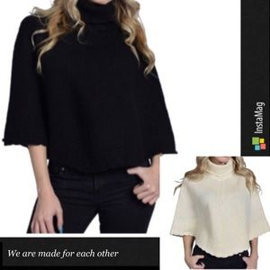 Sweaters - Lambs wool turtle neck poncho