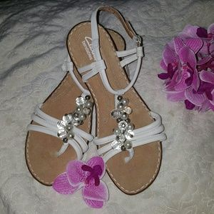 Clarks Shoes - Clarks Ivory Beaded Sandals