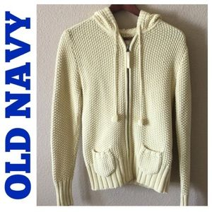 Old Navy yellow knitted cardigan hoodie size M