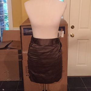 NWOT Express Olive satin like pleated mini skirt