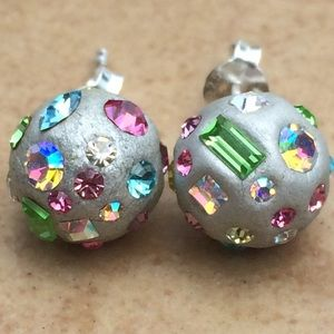 Silver Resin Multi Color Crystal Ball Stud Earring