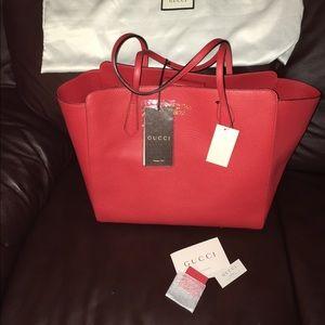 Gucci Handbags - Authentic Gucci red fashion tote
