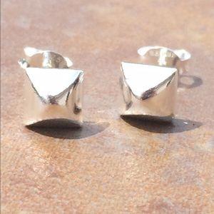 Jewelry - Sterling Silver 925 Pyramid 6mm Stud Earrings