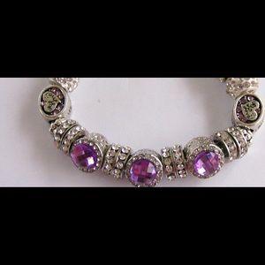Jewelry - SOLD Lilac CZ Charms and Rhinestones Bracelet