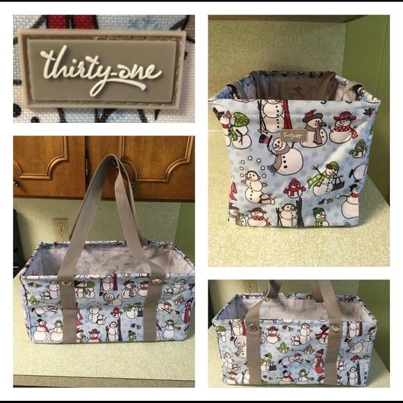 Thirty One Utility Tote Snowmen Gift Bag Storage