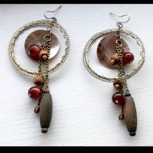H&M Jewelry - Unique Wooden Gold Boho Shell & Beaded Earrings