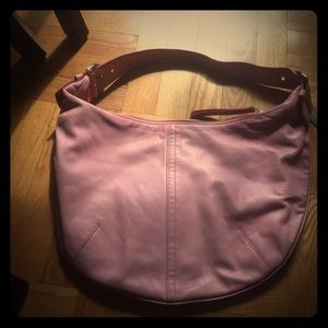 Coach pink leather hobo bag