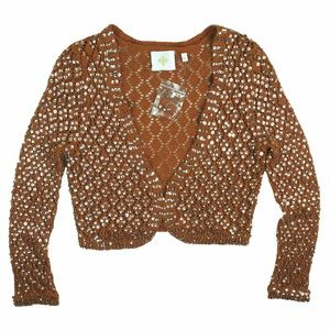 Anthropologie Sweaters - New ANTHROPOLOGIE Sequin Shrug Cropped Cardigan