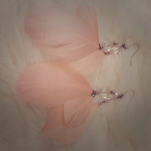 Pale pink feather earrings