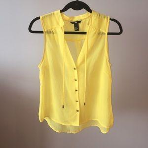 Yellow chiffon sheer tank