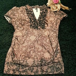 Maurices Tops - Maurices Pink and Black Floral Ruffled Blouse