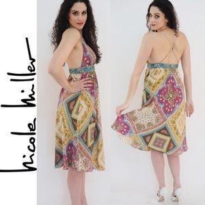 NICOLE MILLER Colorful Silk Dress Sz 6