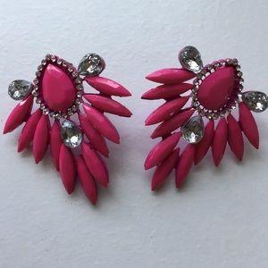Pink & rhinestone earrings