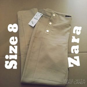 Zara Pants - Zara Basic Ankle Pants Beige Trousers Sz 8