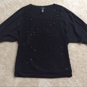 Alfani Tops - Black Sequined Top with see through sleeves