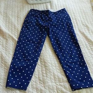Blue and white polka dot crop pants