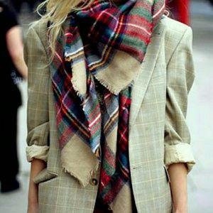 Zara Red Plaid Blanket Scarf