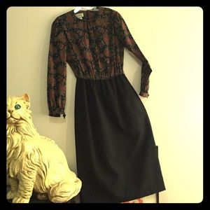 Vintage Pencil Skirt Paisley dress(winter)
