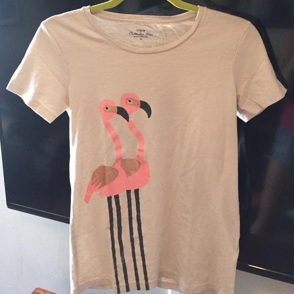 49512902 J. Crew Tops   J Crew Flamingo Collector Tee Size Xs   Poshmark
