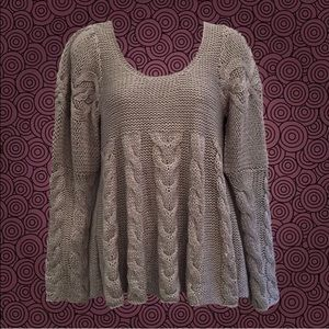 Cozy Grey Swingy Cable Knit Sweater