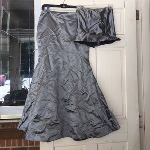 Metallic Grey 2pc Strapless dress