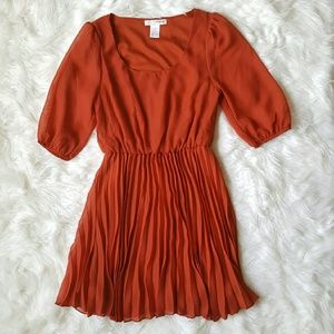 Dresses & Skirts - Pleated Half Sleeve Orange Dress