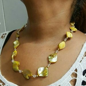 Mother pearl coral real stone handmade necklace